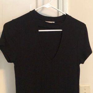 Black ribbed t-shirt dress with cutout, small